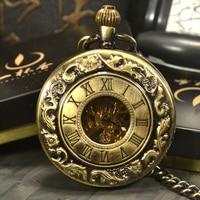 TIEDAN Vintage Antique Bronze Classic Chain Fashion Steampunk Skeleton Mechanical Pocket Watch Men Necklace