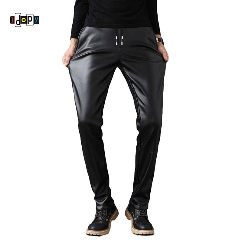 Idopy PU Faux Leather Pants Men Windproof Elastic Waist Motorcycle Biker Business Male Trousers Stretchy Leather With Drawstring