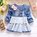 Primavera criança meninas do bebê das crianças do revestimento do revestimento outwear washed denim jeans lace bow princesa casaco S0861