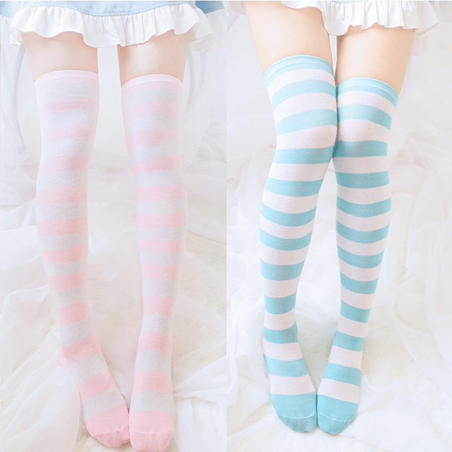 15e4a735148 Kawaii Cute Girls Lolita Polyester Over-knee Stripe Thigh High Over Knee  Socks Stocking Thigh High Fleece Lolita Cosplay Socks