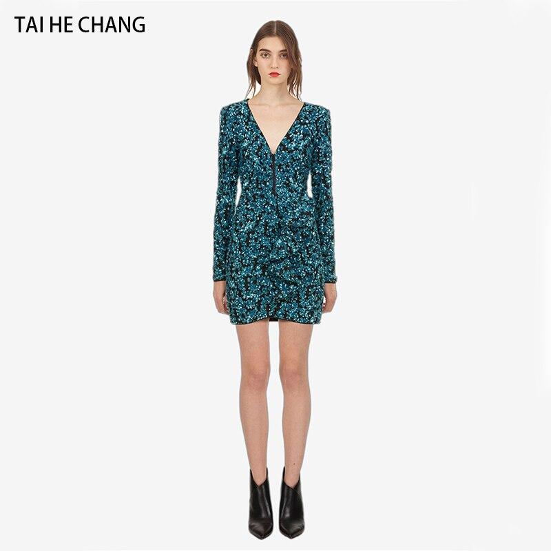 Femmes robe automne à manches longues nouvelle mode élégant vestidos paillette gaine col en v slim moulante sexy partie mini robe de piste