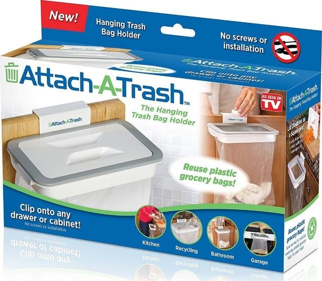 Attach A Trash Cupboard Door Back Trash Rack Storage Garbage Bag Holder  Hanging Kitchen Cabinet Hanging