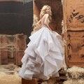 New Designer vestido de Baile Em Camadas Vestidos De Casamento De Cristal Sexy Backless Vestido de Noiva robe de mariage vestido de noiva 2015