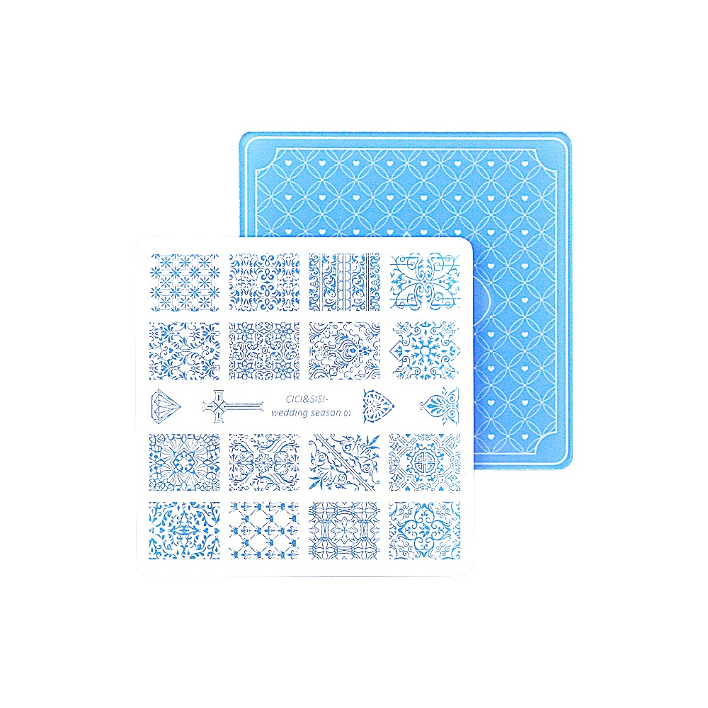 цена на Nail Stamping Plates Nail Art Stamp Template Image Plate Nails DIY Tool Acrylic Stamp Wedding Theme Set 01-04