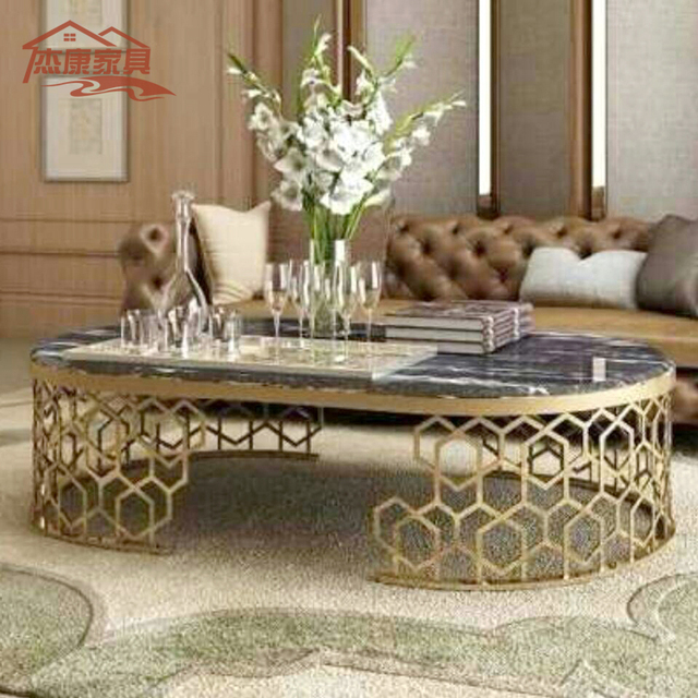 Neoclical Marble Oval Coffee Table Living Room Sofa Stylish Hotel A Few Long Stainless Steel