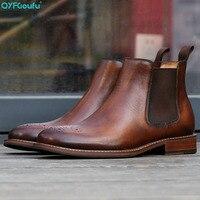 QYFCIOUFU/мужские ботинки из натуральной кожи в британском винтажном стиле; черные, коричневые простые ботинки «Челси» с острым носком; мужские