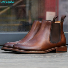 QYFCIOUFU Genuine Leather Men Boots British Vintage Style Black Brown Simple Pointed Toe Chelsea Boots Men Ankle Shoes 2019 New