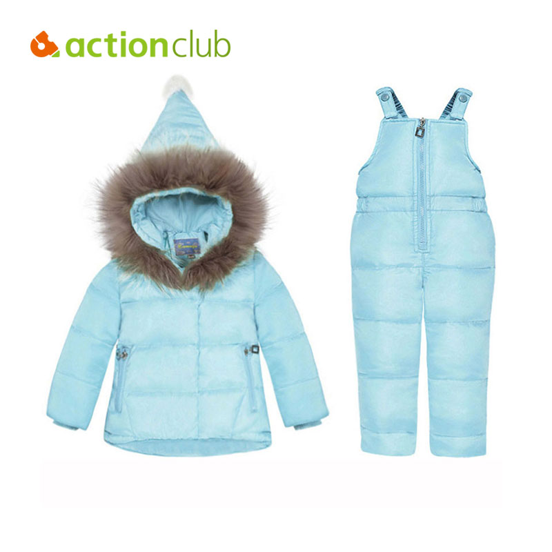 Actionclub Hooded Winter Down Coat With Fur Baby Boys Girls Warm Clothing Sets With Pants Kids Zipper Coat Winter Outerwear 2 pcs children set baby boys girls clothing sets winter hooded down jackets trousers waterproof thick warm kids outerwear xl242