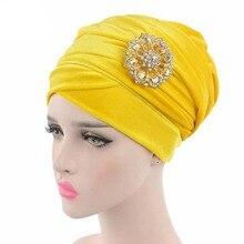 נשים כובעי ראש צעיף טורבן אלסטי כובע הודו כובע הכימותרפיה כובע בימס מוסלמי ערבי עמירה Skullies כובעי כובעים