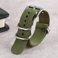 Nylon Watch Strap Band Soft Army Green Outdoor Military High Quality Replacement Sport Bracelet Silver Steel