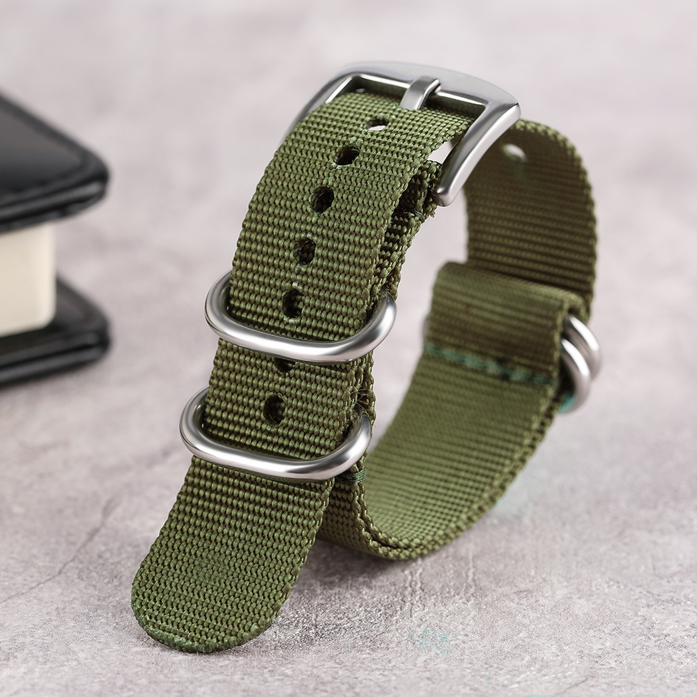 Nylon Unisex Soft Black Army Green Watchband Wrist Watch Band Straps 20mm 22mm 24mm Replacement with Silver Steel Pin Buckle h1 20mm 22mm watch band with smart band wristband function leather watchband straps stainless steel silver buckle smartband