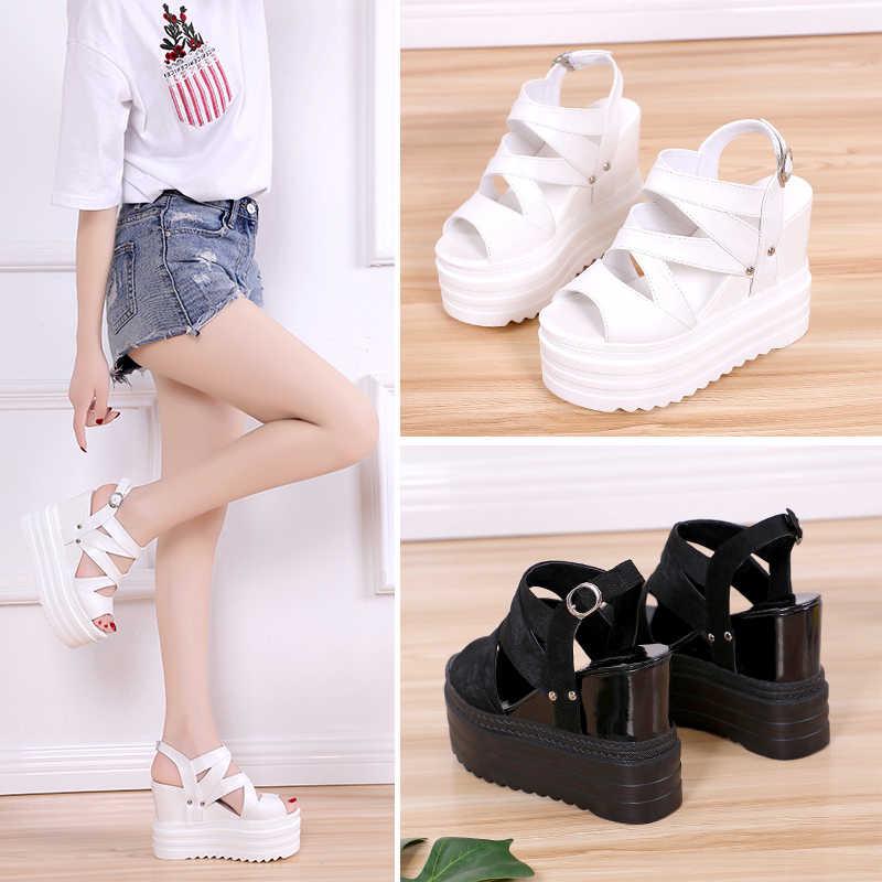 Artış bayanlar sandalet yaz 2019 düz sandalet yüksek topuklu kadın ayakkabısı bayan sandalet rahat ayakkabılar beyaz siyah y236