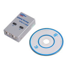 New Brand 2 Ports HUB USB 2.0 Auto Sharing Switch With CD for Printer Scanner Office