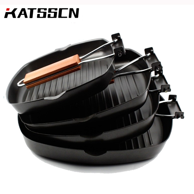 Cast Iron Pan Non-Stick Square Grill Pan For Outdoor Wooden Folding Handle Pan Fry Steak Grill Pans Cast Iron Grill For Bbq 256