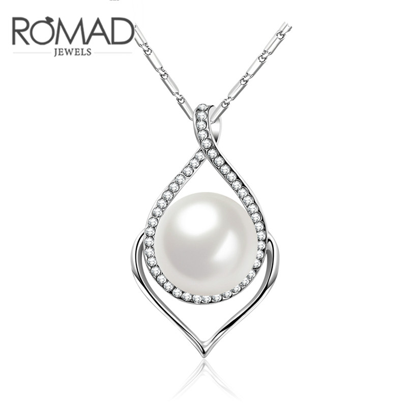 Fashion Noble Pearl Imitation Necklace Silver Color Simple Generous Lady Pendant Necklace for Women Party Wedding Valentine Gift