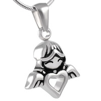 IJD8214 Low Price Wholesale Stainless Steel Baby Angel Heart Wings Shaped Cremation Memorial Necklace for Ashes Urn Jewelry