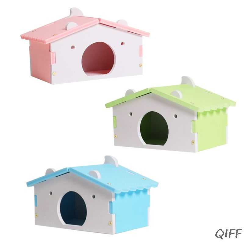 Hamster House Cages for Rat Mouse Funny Hamster Nest Villa Colorful Wooden Bed House
