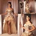 Старинные новинка шампанское рукавом ручной цветок High low на заказ принцесса свадебные платья свадебные платья