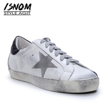 ISNOM Cow Leather Flats Star Women Round Toe Lace Up Footwear Elevator Shoes Female dirty Sneakers Casual Shoes 2019 New Spring