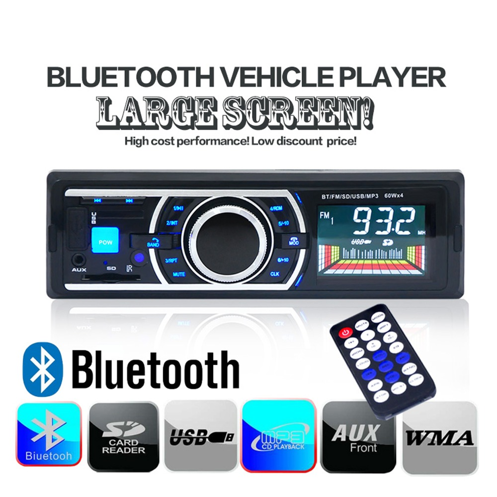 DC 12V Bluetooth Car Stereo Audio MP3 Player 60W*4 FM Radio Aux Input Receiver Car HandsFree SD USB with Remote