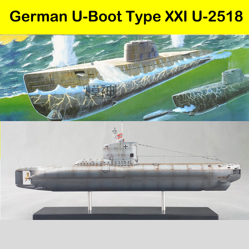 1/144 WWII German Warship U Submarine U-2518 Electric Ups And Downs Plastic Assembly Model Ship цена и фото