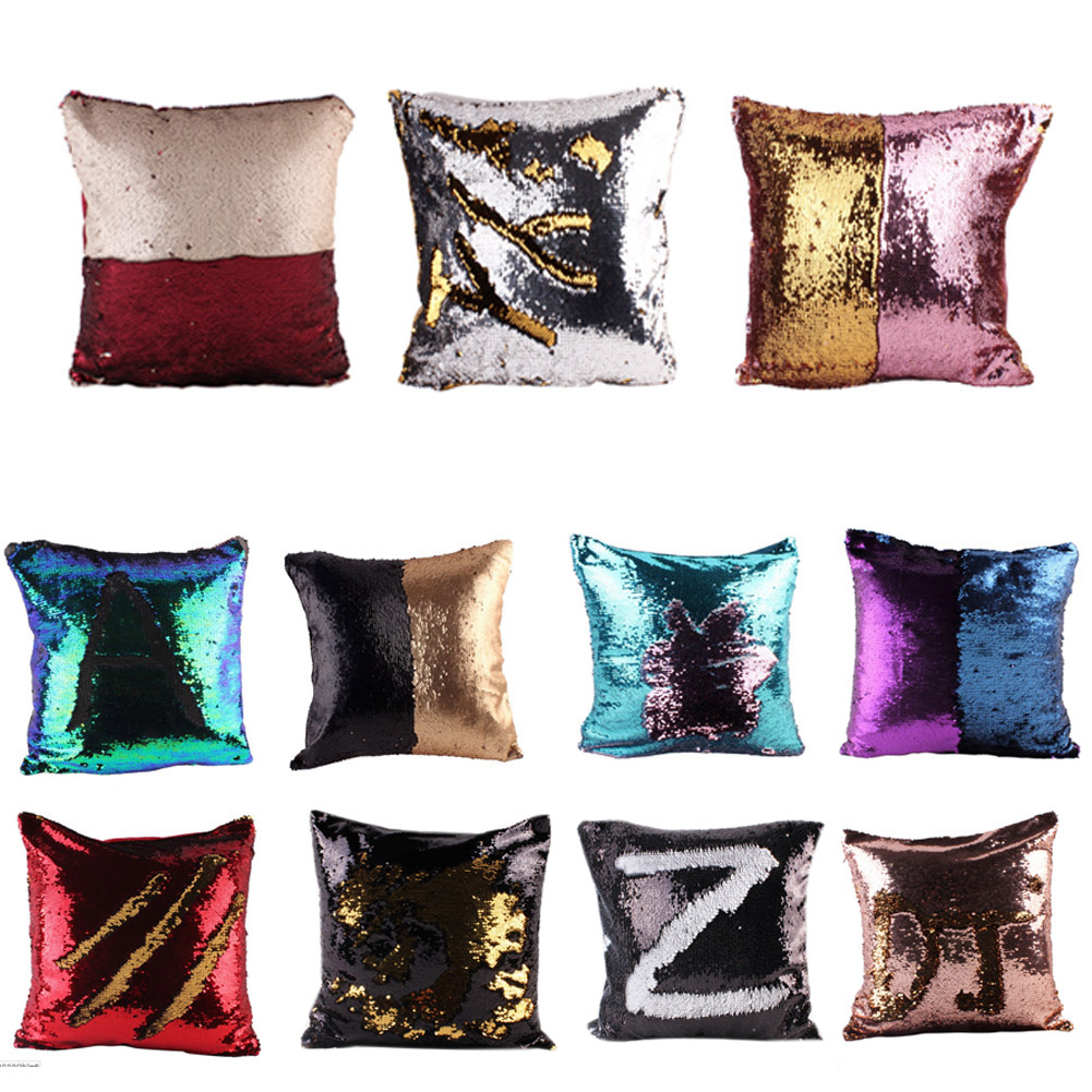 Pillow Case Pillow Cover Cushion Cover Mermaid Sequin Pillowcase 40*40cm