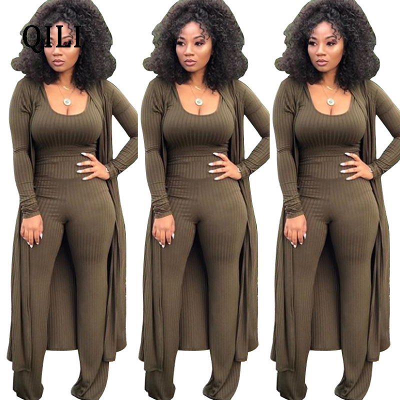 QILI New Hot Women 3 piece Set Jumpsuits Fashion Casual Solid Bodycon Jumpsuit Top Pants Cardigan Long Sleeve Jumpsuit S XXL in Jumpsuits from Women 39 s Clothing