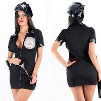 PVC Deri Yaka Déguisement Adultes Kadın Polis Fermuar Elbise Cop Kostüm Artı Boyutu Cosplay Polisler Seksi Kostümleri W202303