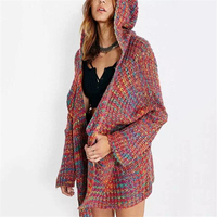 Fashion Rainbow Sweater Women Sweaters Cardigans Hooded Long Jerseys Invierno Mujer Rainbow Jumper Sweter Mujer Knitted Coat