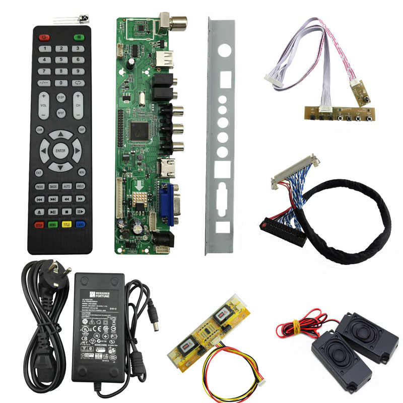 v56 LCD TV Controller Driver Board full kit DIY monitor for 30pin 2ch-8bit 4pcs CCFL LVDS panel LCD accessories 756284