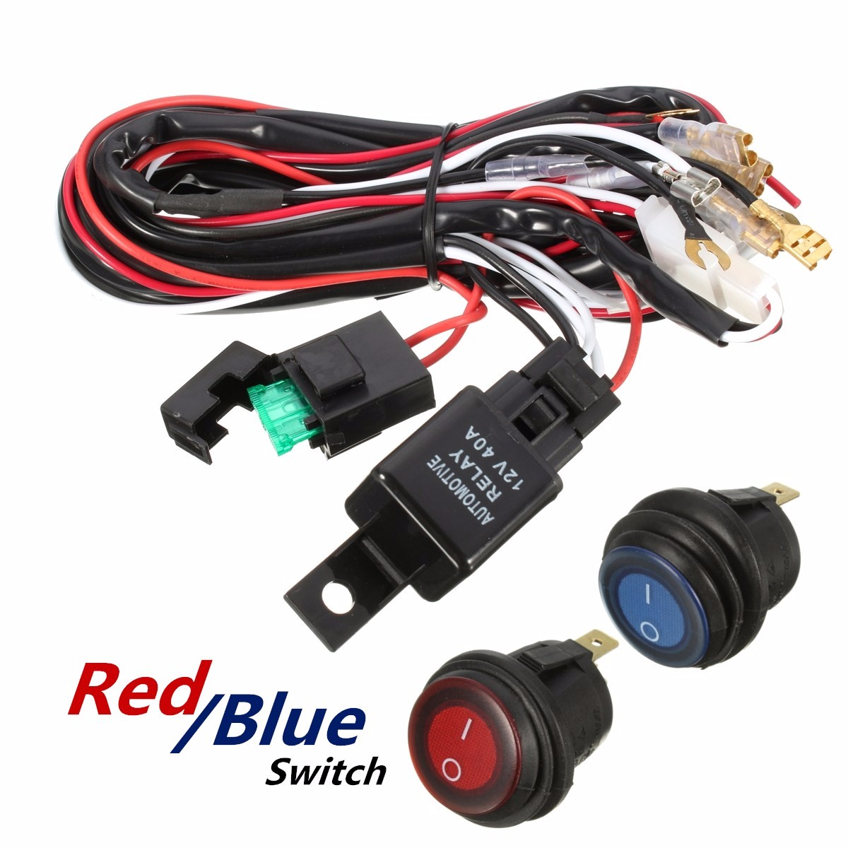 40a led work light bar wiring harness kit fuse relay switch for jeep off road [ 1200 x 1200 Pixel ]
