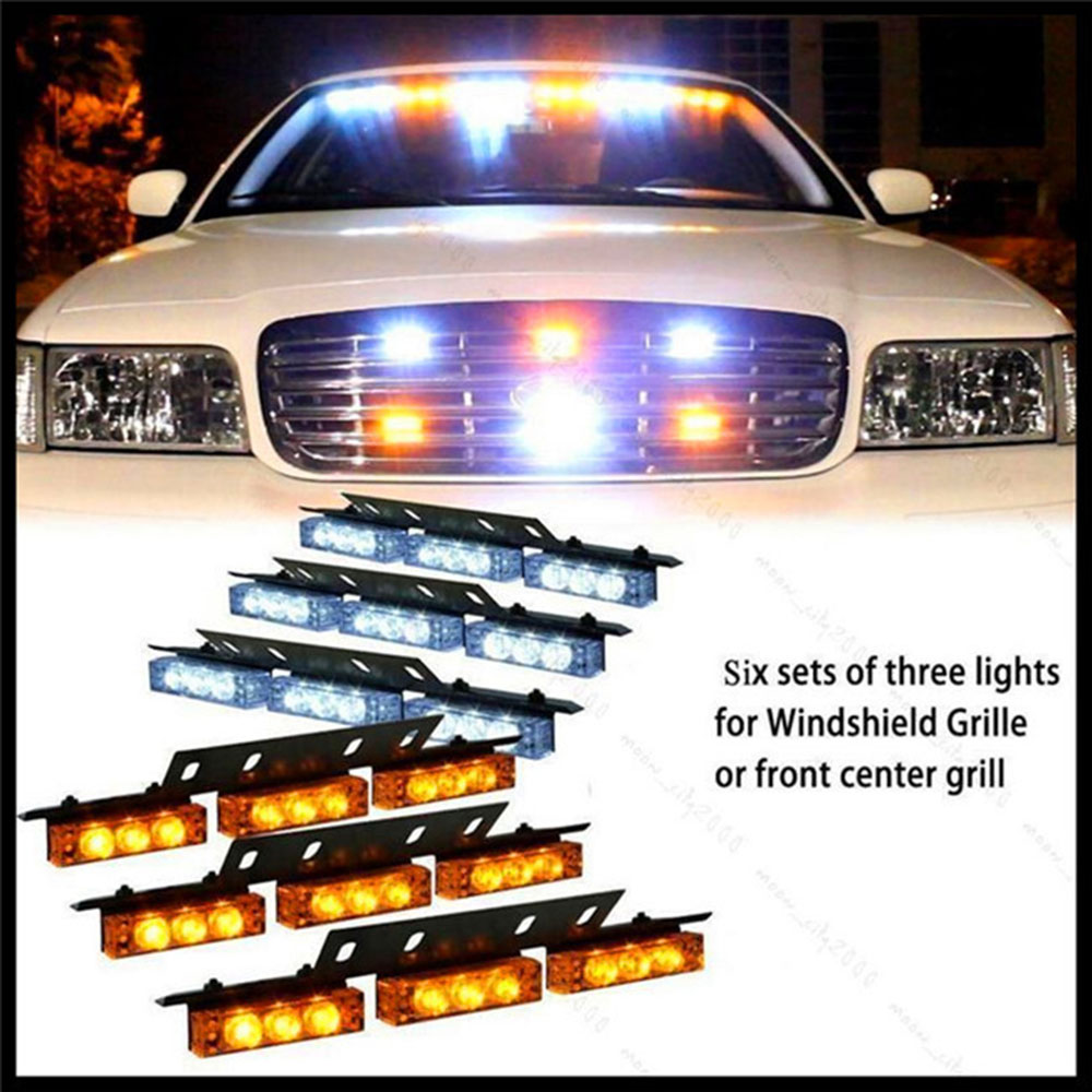 Super Bright Automobiles Car 54 LED 12V Emergency Warning Lights Auto Vehicle Strobe Flashing Light Bars Amber and White 54 led emergency vehicle strobe lights bars warning deck dash grille amber white