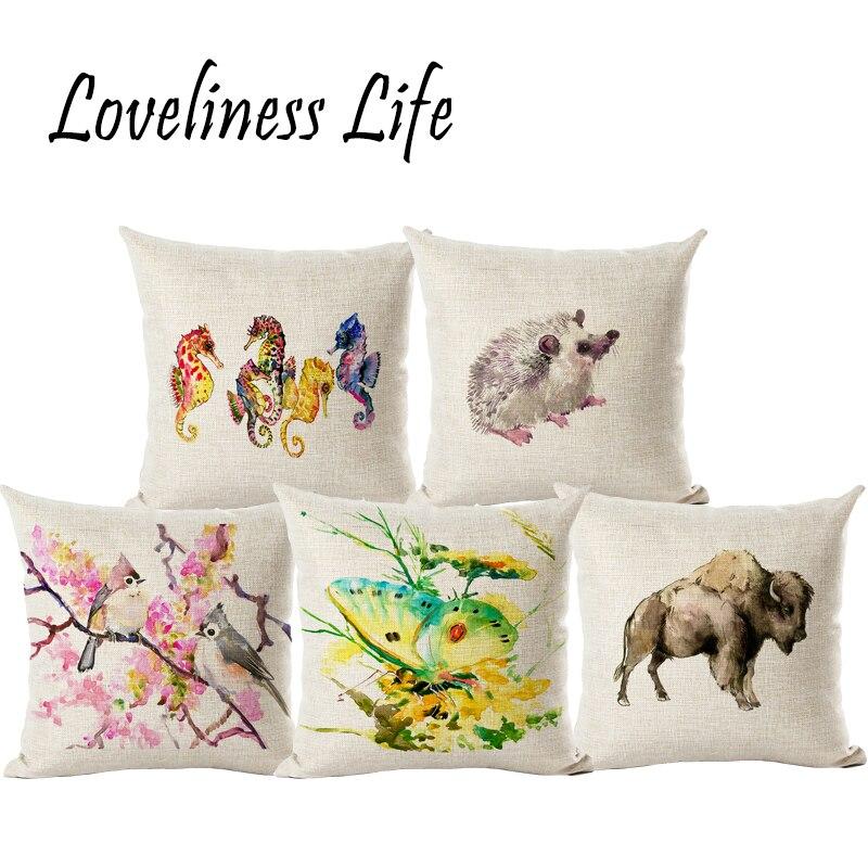ᐊPersonalizado watercolored animal Lino Almohadas Fundas de