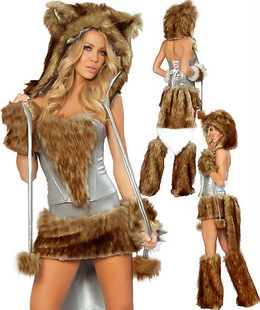 90a8907ce865 DHL Free Sexy Animal Costumes Women Furry Animal Costumes Hot sale wolf  grey wolf suit Deluxe Furry Women Halloween Costumes