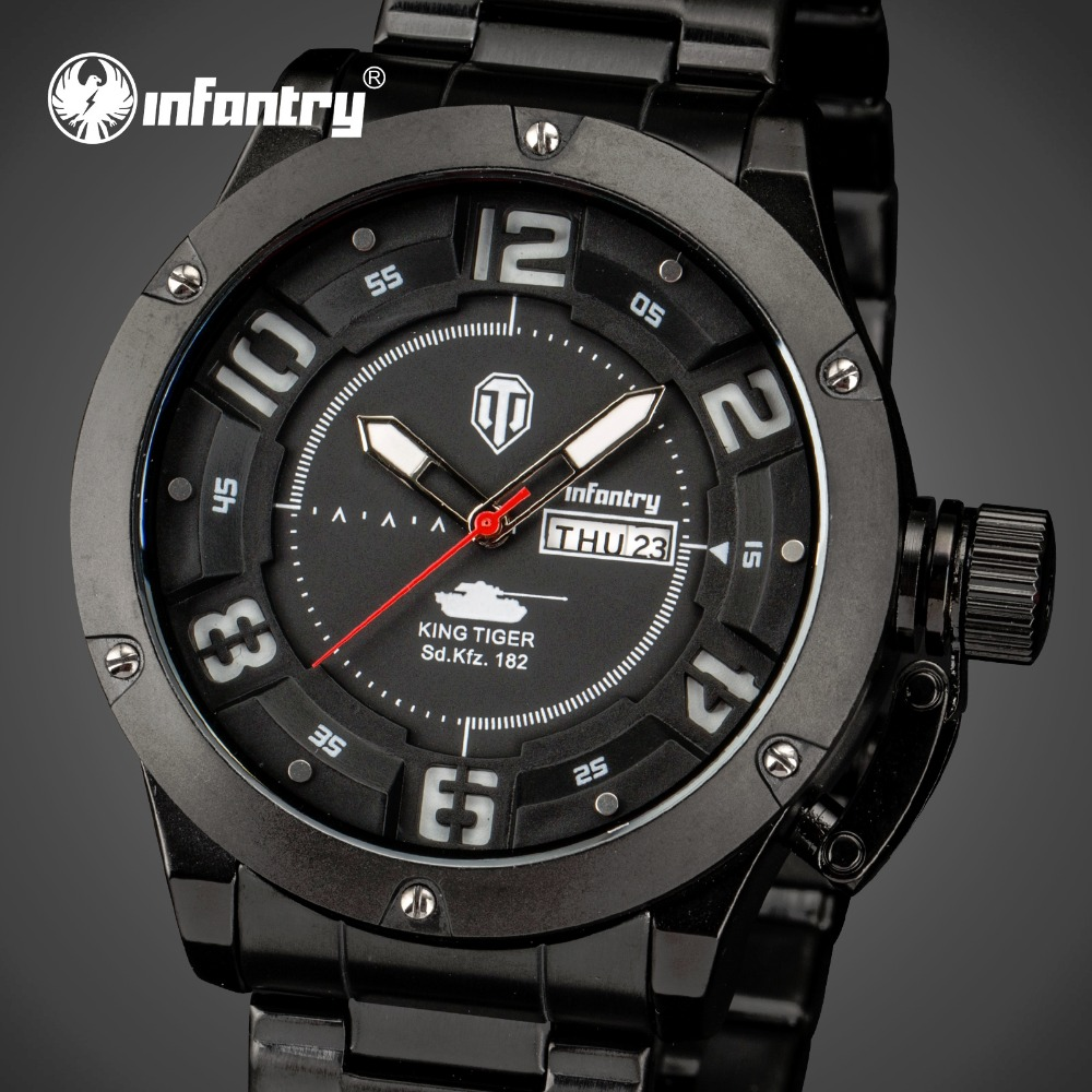 ФОТО INFANTRY Mens Watches Luxury All Black Stainless Steel Quartz-Watch Luminous Analog Display Water Resistant Auto Date Watches