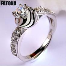925 sterling silver ring white round zircon boutique jewelry womans fashion J0426