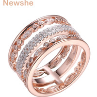 Newshe Solid 925 Sterling Silver AAA Cubic Zirconia Wedding Engagement Ring Rose Gold Color Fashion Jewelry For Women GR01341A