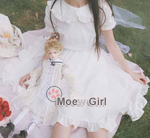 Kawaii Womens Lolita Angel Pure White Dress Simple Mori Girl Style Mid Length Ruffled Collar Cute girl