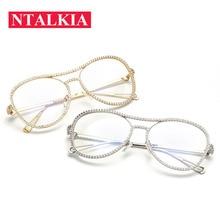 Роскошные большие круглые Двойные Лучи со стразами металлические очки оправа для женщин очки прозрачные линзы женские Алмазные Armacao Oculos de
