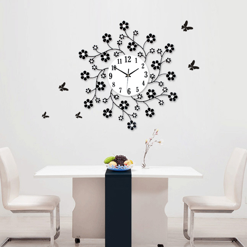 Home Decoration Wall Clocks Aesthetic Rustic Small Flower Clock Modern Personality Mute M1140 In From Garden On