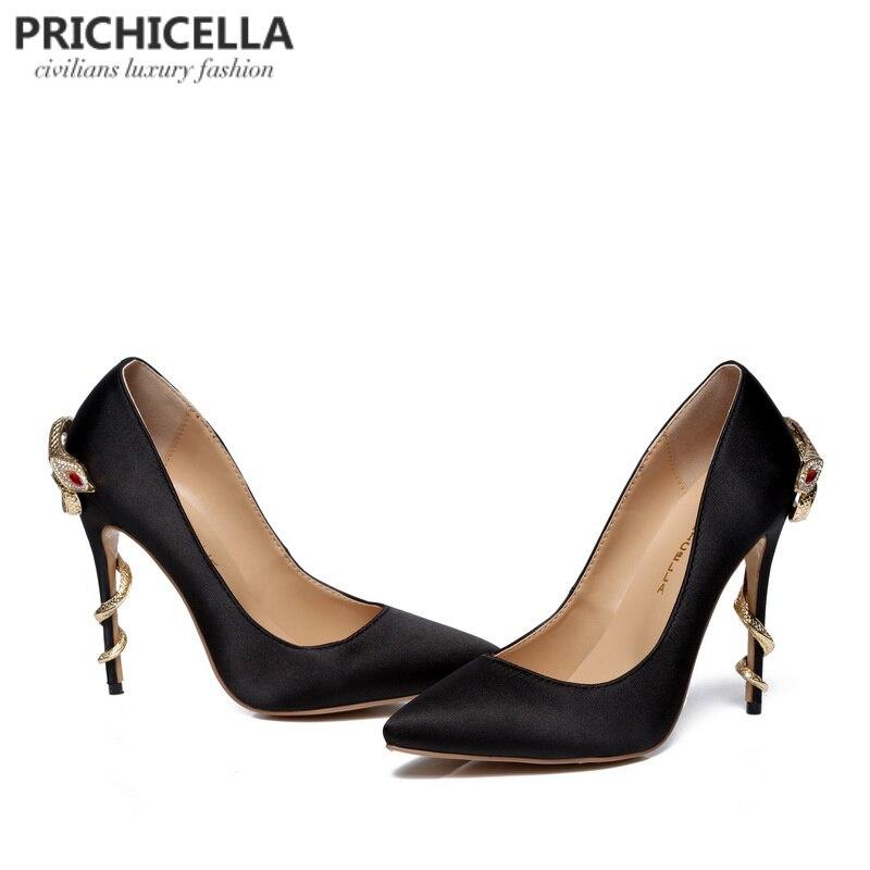 PRICHICELLA/атласные золотые туфли под платье на каблуке под змеиную кожу; уникальные туфли лодочки на высоком каблуке с острым носком из натуральной кожи - 3