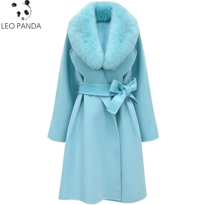Femmes blue Amovible rice Renard Fourrure Face Supérieure Qualité 100 Double 2019 Grand Laine Pink light Grey Nouveau Col Manteau Avec Mode De Rue White vHgqn8x