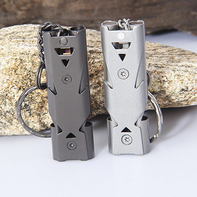 Portable Aluminum Safety Whistle Double Lifesaving Emergency SOS Outdoor Survival Whistle Tactical Emergent Survival Equipment