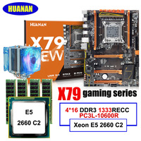 Discount PC hardware HUANAN ZHI deluxe X79 LGA2011 motherboard with M.2 slot motherboard with CPU Xeon E5 2660 C2 RAM 64G(4*16G)