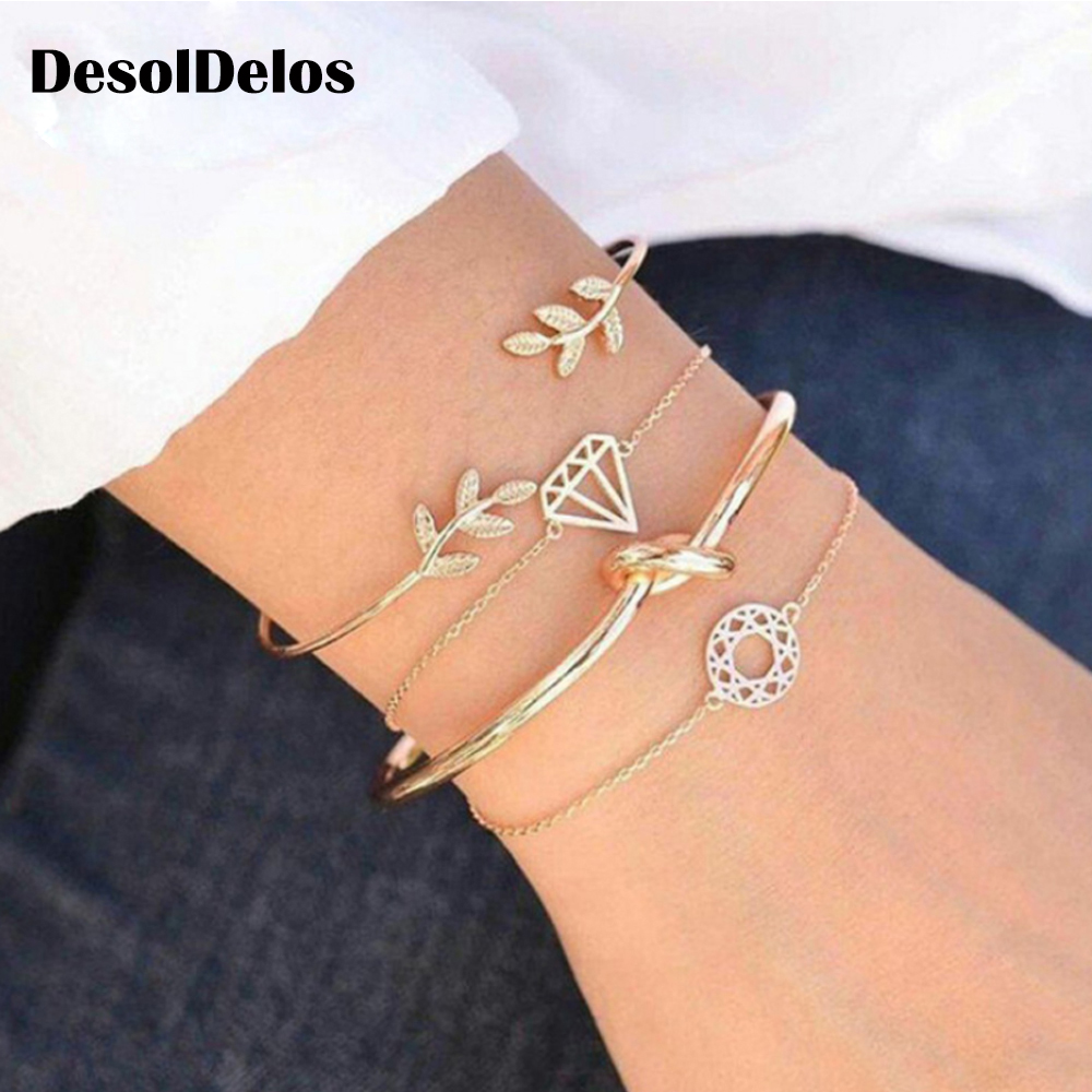 4PCS/Set Retro Leaf  Knotted Charm Chain Bracelets for Women Fashion Gift Gold Metal Bangles Jewelry 2019