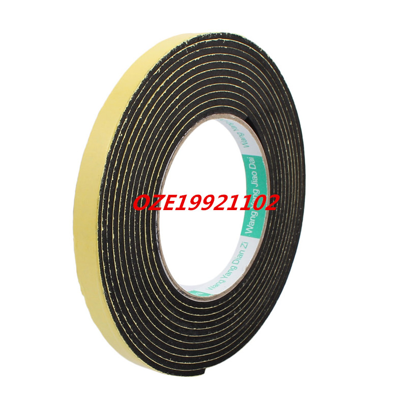 4M 12mm x 3mm Single-side Adhesive Shockproof Sponge Tape Yellow Black 1pcs 45mm x 5mm single sided self adhesive shockproof sponge foam tape 3 meters