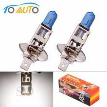 2 pçs h1 super brilhante branco nevoeiro halogênio lâmpada 55 w cabeça do carro luz com caixa de varejo estilo do carro fonte de luz estacionamento