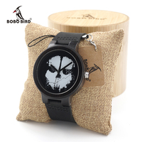 BOBO BIRD Ebony Wooden Watch Ladies with Skeleton Logo Luxury Quartz Watches with Genuine Leather Band for Men as Gift