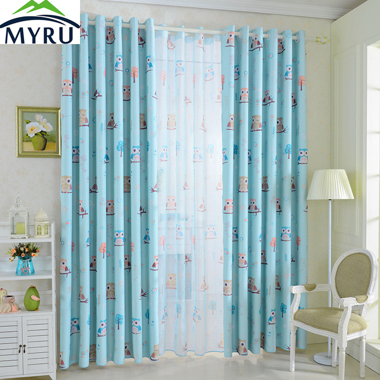 Myru owl cartoon bird pattern blackout curtains for kids - Childrens bedroom blackout curtains ...