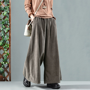 Image 4 - Autumn Winter Pants Retro Loose Women Trousers Elastic Waist pocket Solid color Corduroy Blended Female Casual Pants 2018